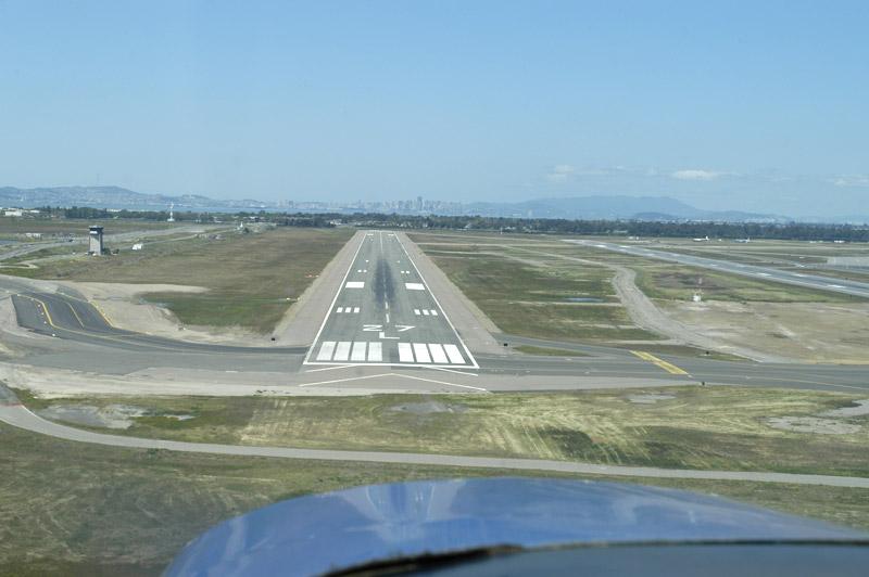 Short final, Oakland (KOAK) runway 27L