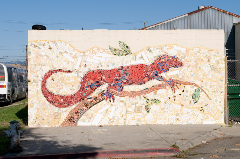 Mosaic street art on Ford Street, Jingletown (Oakland)