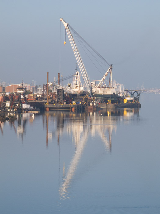 The soft morning Estuary light from the Park Street Bridge, Oakland Estuary.