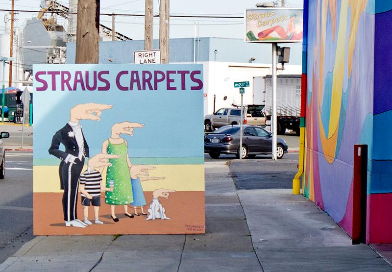 Surreal street art outside Straus Carpets, Ford Street, Jingletown, Oakland.