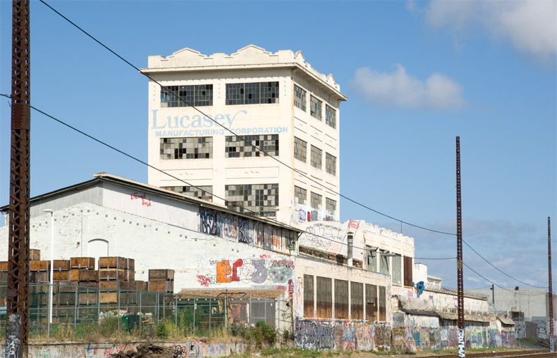 A view of the Lucasey building from the railroad tracks near 29th Avenue, Fruitvale, Oakland.