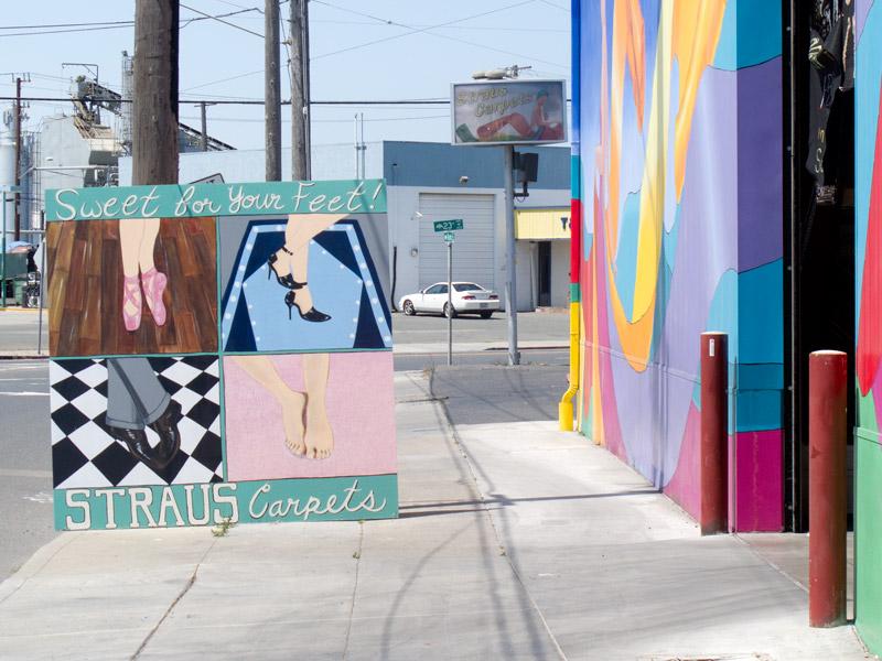 Straus Carpets street art, Jingletown, Oakland.