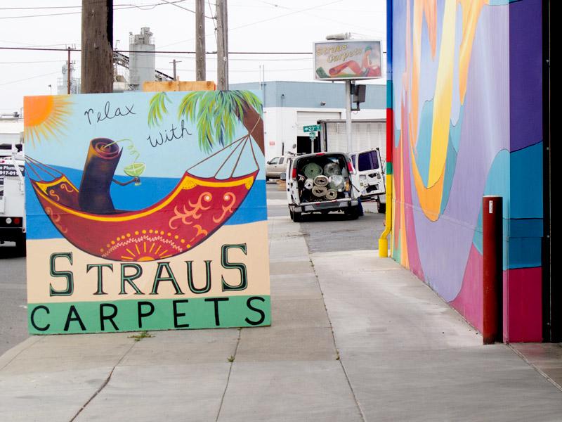 Straus Carpets street art, Ford Street Jingletown, Oakland.