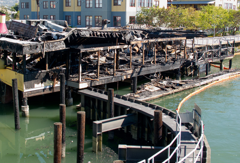 Tiki Tom's, Oakland, after the fire, from the Park Street Bridge (October 11, 2010).