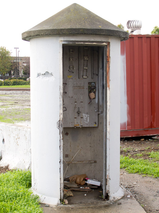 The old signal or crossing control box that's been sitting open and derelict next to Fruitvale Avenue and the railroad for years...