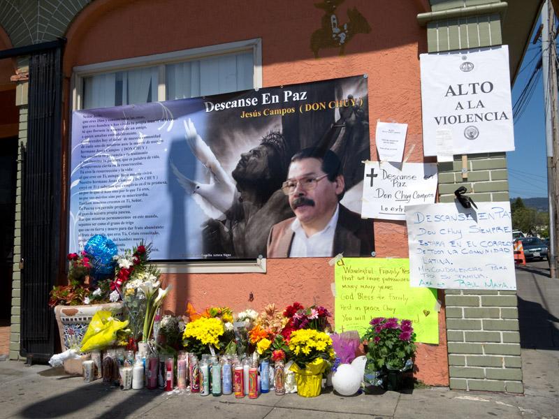Memorial to Jesus 'Chuy' Campos, outside Otaez, Fruitvale, Oakland, April 10 2011.