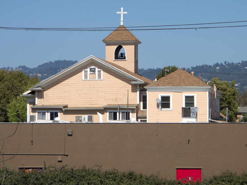 Mary Help Of Christians church from the 23rd Avenue overcrossing, Jingletown, Oakland.