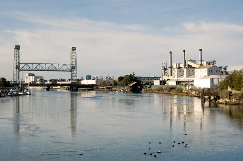 The view from High Street Bridge, Oakland Estuary.