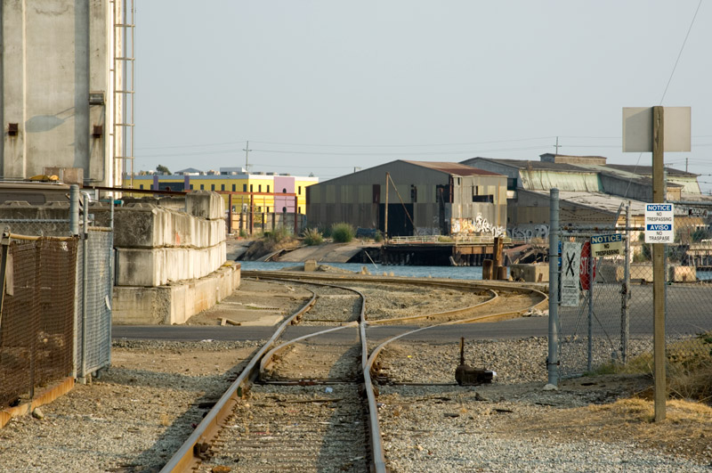 Looking across the Oakland Estuary from the ConAgra silos towards the old Collins Yard in Alameda