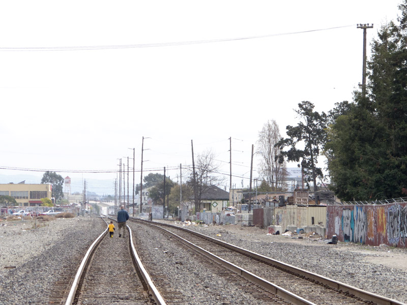 Looking down the main line, from Fruitvale Avenue, Oakland.