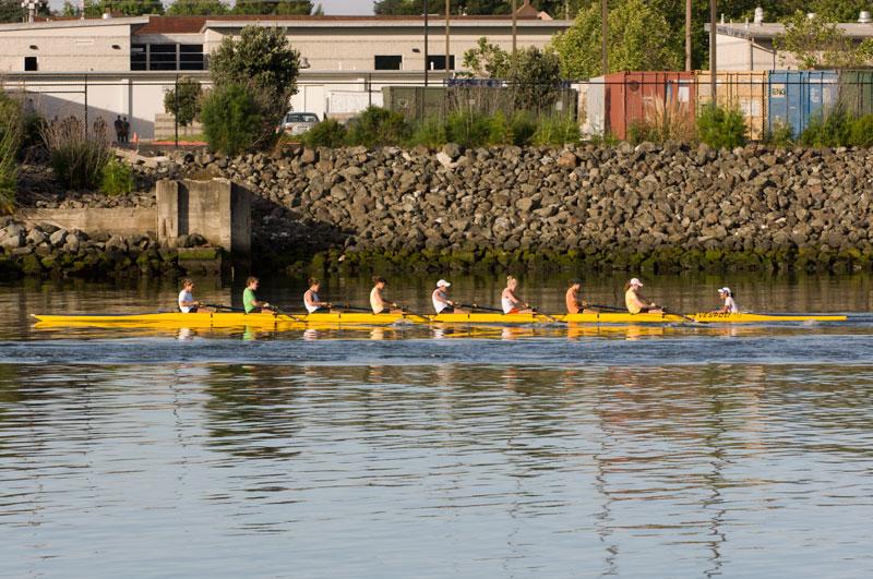 UC Berkeley rowing crew heading up the Estuary past Union Point