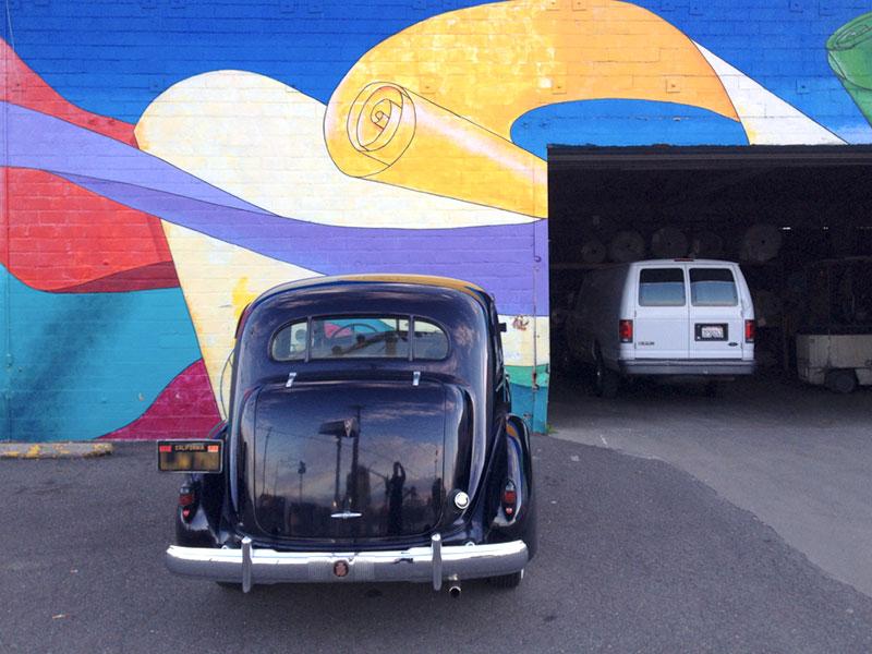 Outside Straus Carpets, Jingletown, Oakland
