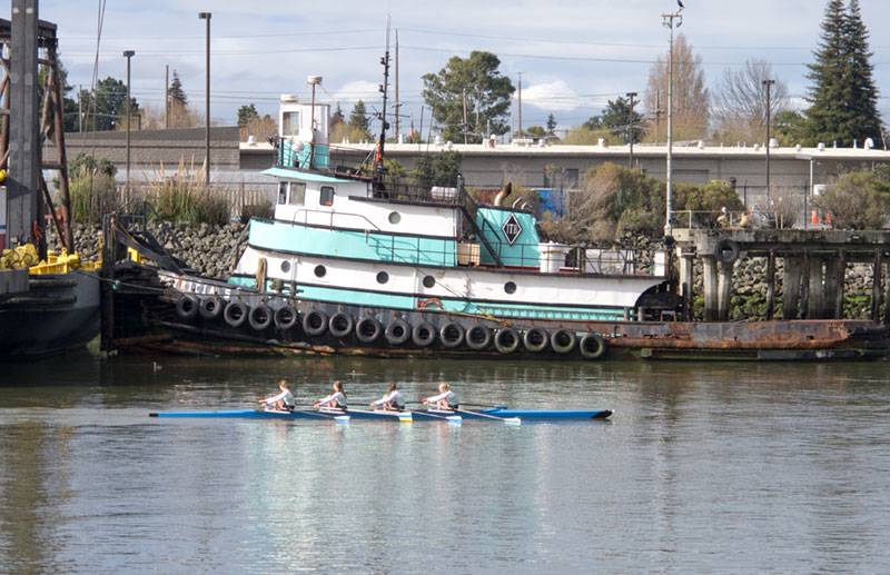 UC Berkeley rowing four passing tug Patricia S on the Estuary near the Dutra Yard