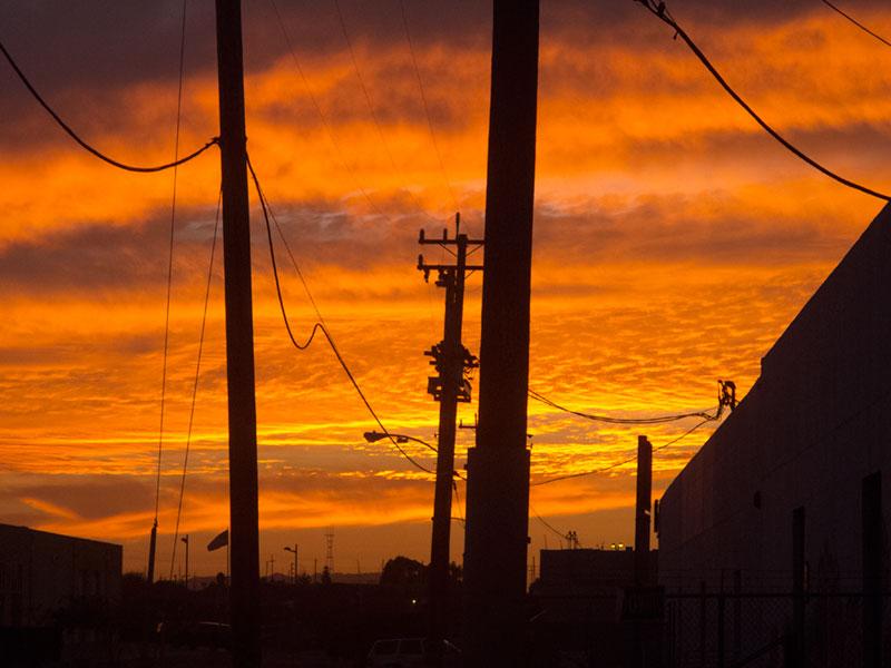 Sunset, Diesel Street, Jingletown, Oakland