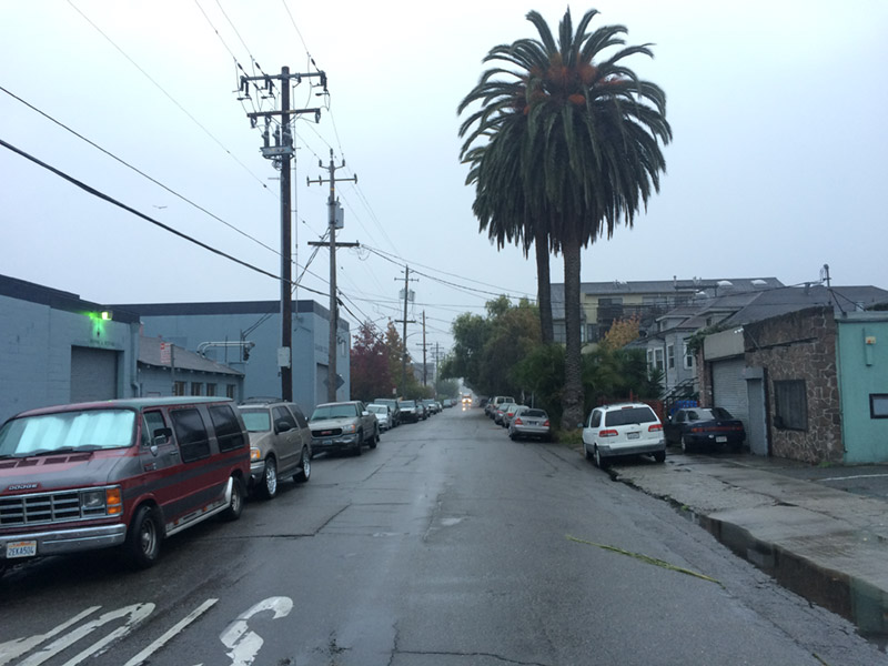 Some welcome early-morning rain on Ford Street, Jingletown